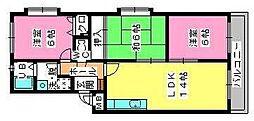 シャトレ参番館[4階]の間取り