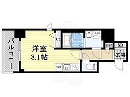 BPRレジデンス江坂(旧レジディア江坂2) 8階ワンルームの間取り