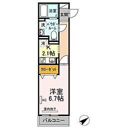 JR山陽本線 福山駅 徒歩35分の賃貸アパート 2階1Kの間取り