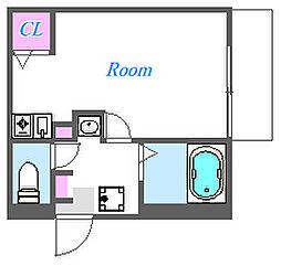 メインロード 1階ワンルームの間取り