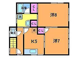 東京都三鷹市中原4丁目の賃貸アパートの間取り