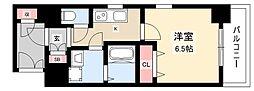 エステムコート名古屋黒川シャルマン 8階1Kの間取り
