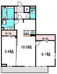 京阪本線 守口市駅 徒歩15分の賃貸アパート 3階2LDKの間取り