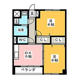 ウッドコート医大南[3階]の間取り