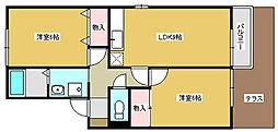 兵庫県加東市上滝野の賃貸アパートの間取り