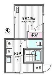 東京都新宿区横寺町の賃貸アパートの間取り