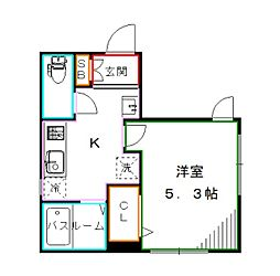 都営大江戸線 新江古田駅 徒歩9分の賃貸マンション 2階1Kの間取り
