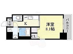 エグゼ大阪ベイ 2階1Kの間取り