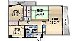 阪急神戸本線 西宮北口駅 徒歩20分の賃貸マンション 3階3LDKの間取り