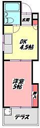 松原マンション 1階1DKの間取り