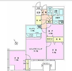 東京メトロ半蔵門線 水天宮前駅 徒歩9分の賃貸マンション 18階2SLDKの間取り
