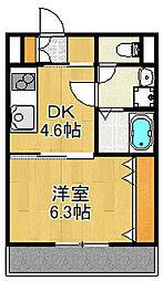 JR山陽本線 大久保駅 徒歩12分の賃貸アパート 2階1DKの間取り
