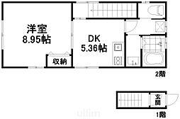 近鉄京都線 東寺駅 徒歩10分の賃貸アパート 2階1DKの間取り