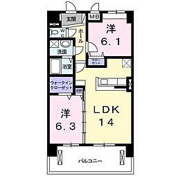 東京都調布市入間町2丁目の賃貸マンションの間取り