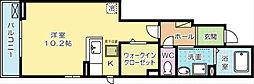福岡県北九州市小倉南区蜷田若園1丁目の賃貸アパートの間取り