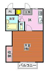 南海高野線 金剛駅 徒歩15分の賃貸アパート 1階1DKの間取り