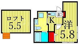 つくばエクスプレス 浅草駅 徒歩13分の賃貸マンション 5階1Kの間取り