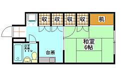 福岡県北九州市八幡西区千代ケ崎1丁目の賃貸アパートの間取り