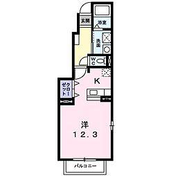 アルバータV 1階ワンルームの間取り
