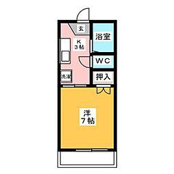 サンコーポ山田 B棟[1階]の間取り