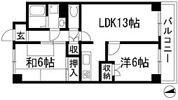兵庫県伊丹市中野西1丁目の賃貸マンションの間取り