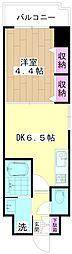 ミューズ竹の塚 7階1DKの間取り