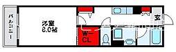 JR鹿児島本線 福間駅 徒歩16分の賃貸アパート 1階1Kの間取り