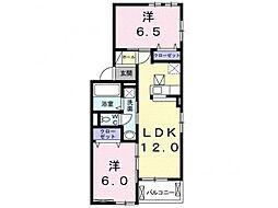 林アパートC 1階2LDKの間取り