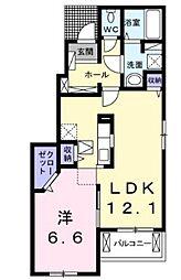 JR可部線 河戸帆待川駅 徒歩7分の賃貸アパート 1階1LDKの間取り