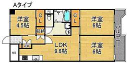 サンコーポラス南港26号棟 9階3LDKの間取り