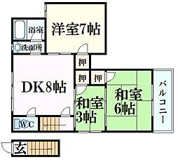 山田ハイツ 2階3DKの間取り