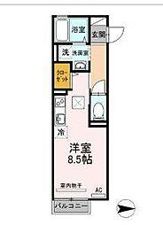 JR山形新幹線 山形駅 双葉町下車 徒歩1分の賃貸アパート 1階ワンルームの間取り