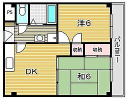 サンハイム東[4階]の間取り