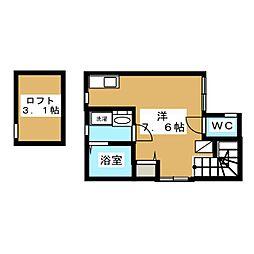パークノート西永福 2階ワンルームの間取り