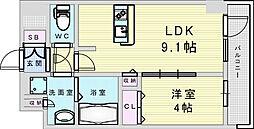 Osaka Metro御堂筋線 新大阪駅 徒歩8分の賃貸マンション 12階1LDKの間取り