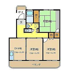 コスモプラザ茅ヶ崎[105号室]の間取り