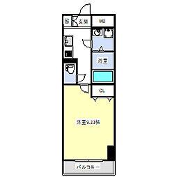 レーヴメゾン三国ヶ丘 5階1Kの間取り
