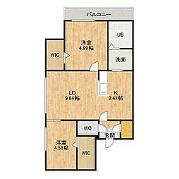 セレッソ新札幌 3階2LDKの間取り