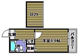 ドムス河内長野第2[2階]の間取り