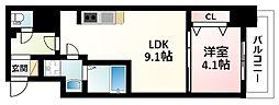 Osaka Metro御堂筋線 江坂駅 徒歩7分の賃貸マンション 14階1LDKの間取り