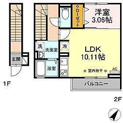 (仮)D-room舎人3丁目 2階1LDKの間取り