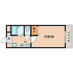 奈良県天理市川原城町の賃貸マンションの間取り