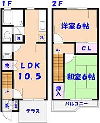 [テラスハウス] 千葉県松戸市栗山 の賃貸【/】の間取り