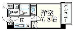 ベラジオ五条堀川III 6階1Kの間取り