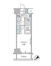 ルビア赤坂 12階1Kの間取り
