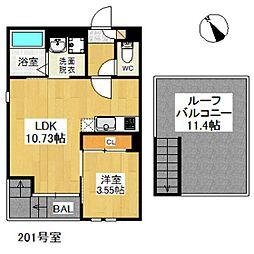 西鉄貝塚線 西鉄千早駅 徒歩10分の賃貸アパート 2階1LDKの間取り