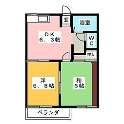 コーポサンヒル[2階]の間取り