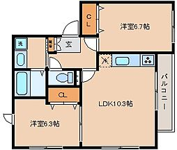 兵庫県神戸市長田区片山町3丁目の賃貸アパートの間取り