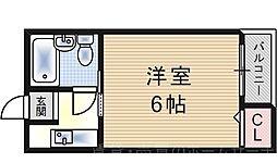 西九条コーポ白樺[4階]の間取り