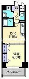 JR山陽本線 岡山駅 徒歩20分の賃貸マンション 7階1DKの間取り